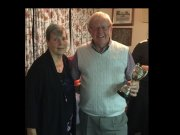 Ray: Mens Championship Winner 2017 with Club President Brenda (Ray also won Mens Pairs with Daron)