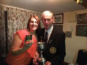 Karen (winner of Eddie Neal Cup, Ladies 2 Woods & Ladies' Handicap) with Alan