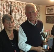 Joe: Mens Handicap Winner 2017 with Club President Brenda (Joe also won three other competitions)